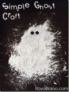 Simple Ghost Craft made with just white paint and googly eyes - very effective…