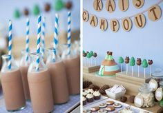 Bump Smitten: Baby Shower Idea: Let's Go Camping - Love the chocolate milk with striped straws for any event.