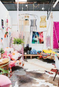 Natalie Miller weavings and macrame. Photo – Rachel Kara for The Design Files.