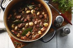 Old Fashioned Beef Stew is a hearty dinner with tender meat and soft potatoes that can be made in the crockpot or on the stove top. Slow Cooker Recipes, Crockpot Recipes, Cooking Recipes, Old Fashioned Beef Stew, Cooking Onions, What's Cooking, Bourguignon Recipe, Campbells Recipes, Pasta