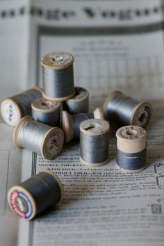 Fifty shades of Gris - Grey Notions by Allison Dandrea Photocollage, Gray Matters, Thread Spools, Yarn Thread, Fifty Shades Of Grey, Sewing Notions, Sewing Box, Vintage Sewing, Grey And White