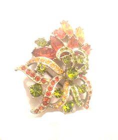Rhinestone Flower Brooch Green Orange Signed by OurBoudoir on Etsy #etsygift #vogueteam