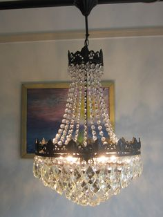 Superb vintage french waterfal crystal chandelier 2 of 2 ebay big sale antique french vintage bronze lead crystal chandelier nouveau lighting aloadofball Choice Image