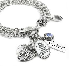 Sister Adjustable Silver Bead Bracelet With Truly Charming Sparkle Collection Gift Box M3SS1