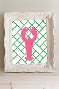Lobster PreppyPink and Green on trellis wallpaper by HappyBrat, $10.00