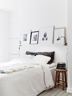 RIBBA picture ledges in the bedroom | Stadshem via Elisabeth Heier