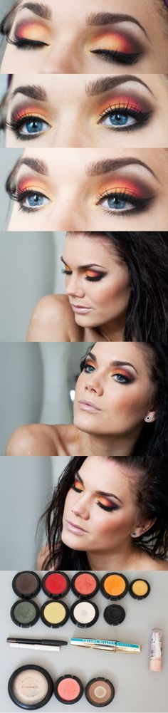 A lot of effort to create this perfect look of multi colours. Colours used for the eyes: dark brown, red, peach, yellow, orange, dark green, pale yellow and black.  Blush light brown and lips pale pink and clear gloss. Pure Perfection.... :)