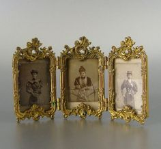 Antique Gilt Rococo Picture Frame c.1900 Miniature Photo 265