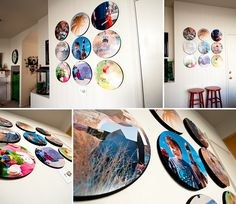 circle foam boards, print 12x12 pictures, cut and tack on (interchangeable) - good for Mia's room/art projects
