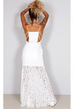 Vestido Longo Renda com Detalhe na Lateral - fashioncloset