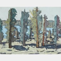 STANLEY MOREL COSGROVE, R.C.A. LES ARBRES  oil on canvas board signed  14 ins x 18 ins; 35.6 cms x 45.7 cms Canadian Art, Canvas Board, Art Auction, Oil On Canvas, Painting, Painted Canvas, Painting Art, Paintings, Drawings