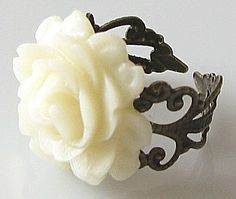 rose ring flower ring ivory antique brass jewelry by KriyaDesign, $12.00