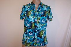 EAST 5TH Shirt Top Blouse Sz PM Watercolor Floral Button Front Short Sleeves #East5th #ButtonDownShirt #Career