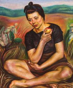 Art Canada Institute, Prudence Heward, Autumn (Girl with an Apple), 1942 Canadian Painters, Canadian Artists, Woman Painting, Figure Painting, Female Painters, Art Society, Social Art, Canada, Autumn Art