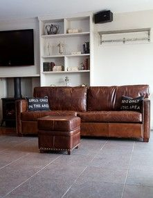 Rose and Grey leather sofa - soooo wanting a new sofa for the family room