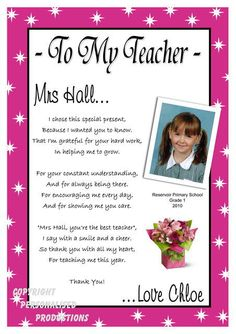 printable teacher poems from kids - Bing Images