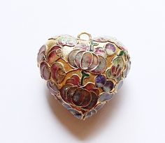 Large Enamel Cloisonne Heart Pendant by paststore on Etsy