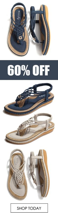 SOCOFY Large Size Women Shoe Knitted Casual Soft Sole Outdoor Beach Sandals. #comfortable