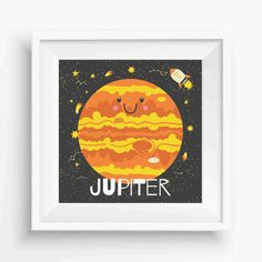 "Jupiter,cute jupiter,Planet  Art Print,Nursery Decor,Kids decor print,Digital Prints,Wall Printable,instant download,8""x 8""Inches"