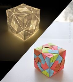 Looks progressive but it's just paper--pretty cool idea to spark something for centerpieces | Sonobe Cube Lamp Tutorial