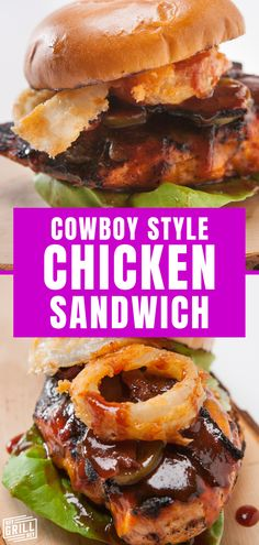 This Cowboy Style Chicken Sandwich is over the top in both flavor and flair thanks to a saucy slather of BBQ sauce, maple peppered bacon, cheddar cheese, pickled jalapenos, and amazing homemade buttermilk onion rings. This monster of a sandwich beats any sandwich you could get from your local drive thru any day.