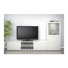 IKEA - BESTÅ, TV unit, white, , It's easy to keep the cords from your TV and other devices out of sight but close at hand, as there are several cord outlets at the back of the TV bench.You can choose to stand the TV bench on the floor or mount it on the wall to free up floor space.If you want to organize inside you can complement with BESTÅ interior fittings.Steady on uneven floors, thanks to the adjustable feet.