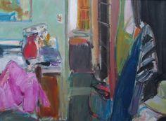 Ingrid Haydon 'Bedroom With Pink Jacket' oil on canvas 45.5x60.5cm
