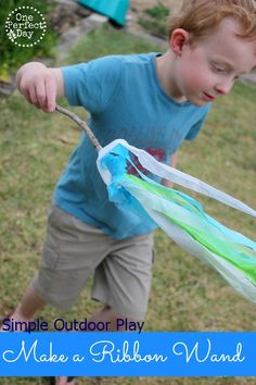 A stick + some strips of tissue paper + wind = lots and lots of outdoor fun!