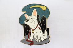 This rare Disney pin features Bolt the Disney dog! He's in the city with a shooting star, and is a limited edition of 500. Guaranteed authentic & scrapper free.
