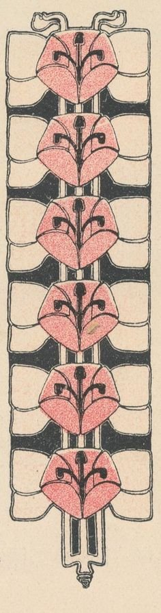 ¤ Josef Hoffmann.  Floral friese in 3 colours. Wiener Werkstatte