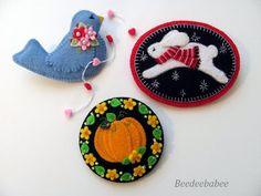 Felt Bunny Pin / Felt Pumpkin Brooch / Felt Birdie by Beedeebabee