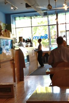 SWIM CAFE, located in West Loop at 1357 Chicago Ave, is a sunny space, laptop filled hangout.  Grab a mug of organic fair and direct trade Counter Culture coffee or organic Rishi teas.  Also find homemade bakery, local gluten-free sweets, sandwiches with local, organic fresh ingredients, fresh homemade soups and vegetarian/vegan options. www.swimcafe.com