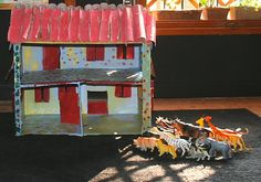 The animal farm made from recycled cardboard Recycled Crafts Kids, Crafts For Kids, Farm Animals, Recycling, Montessori, Games, Home, Crafts For Children, Kids Arts And Crafts