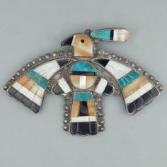 Zuni Inlay Thunderbird Pin, c.1940's Antique Jewellery Designs, Antique Jewelry, Jewelry Design, Southwest Jewelry, Southwest Art, Vintage Turquoise, Turquoise Jewelry, Zuni Jewelry, Ethnic Jewelry