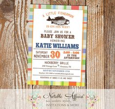 Colorful Plaid Vintage Fish Little Fisherman Baby Shower Invitation   Fishing  Baby Shower   Boy Baby Shower   No Color Changes