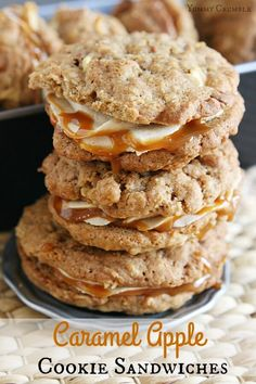Caramel Apple Cookie Sandwiches: Soft and chewy apple spice oatmeal cookies sandwiched with brown sugar and cinnamon buttercream frosting and drizzled with salted caramel. Think of the perfect caramel (Apple Recipes Cookies) Apple Desserts, Apple Recipes, Fall Recipes, Cookie Recipes, Dessert Recipes, Baking Desserts, Health Desserts, Yummy Recipes, Caramel Apple Cookies