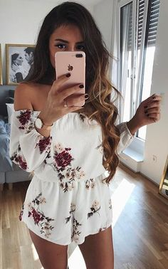#spring #outfits Cutest Playsuit!white Floral Off The Shoulder 'Rule Breaker' Playsuit