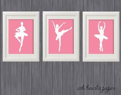 Ballet / Ballerina silhouette - set of 3 Wall Art for Girls Room / Nursery