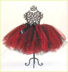 Beautiful Red and Black Tutu with Rhinestones and Satin Bow in Baby to Adult Sizes. $46.00, via Etsy.