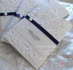 Embossed pocket sleeve invitation for elegant weddings by www.tangodesign.com.au…