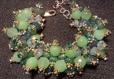 """High Fashion Bunchy Bracelet, Adjustable Length 7 1/2"""" to 8 3/4"""", lobster claw clasp, green, gold and silver tones by badassdesignes on Etsy"""