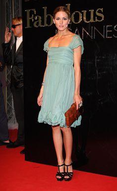 Olivia Palermo light turqoise dress brown clutch black shoes