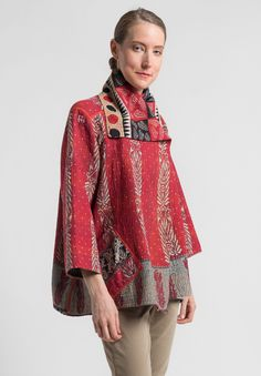 Mieko Mintz - Reversible Flare Jacket in Red/Black. Do Madrid top with collar in co-ordinating print and maybe bottom also.