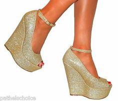 LADIES GOLD SUPER GLITTERY PEEP TOE WEDGE HEELS SHOE SANDAL EVENING PARTY 3-7