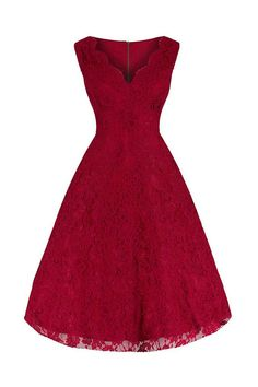 Red Embroidered Lace Swing Dress