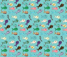 Fishing Floral Fish fabric by coveredbydesign on Spoonflower   Wallpaper and Fabric now available!