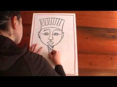Draw/paint Egyptian mummy cover.Ancient Egypt drawing lesson