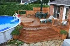 love the design😍😍 Porch Ideas, Patio Ideas, Outdoor Ideas, Backyard Ideas, Outdoor Spaces, Garden Ideas, Above Ground Pool Landscaping, Above Ground Pool Decks, In Ground Pools