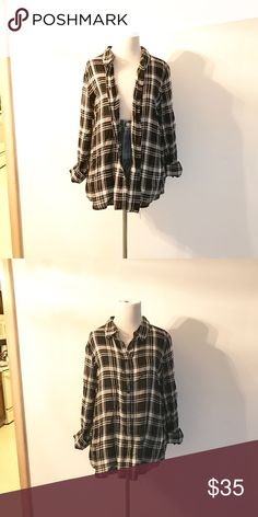 Anthropologie Plaid Top Black and white plaid top by Olive & Oak. Super soft! Great worn alone or layered. Anthropologie Tops