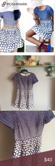 "Madewell dotted songbird dress Broadway and Broome songbird dress in blue and white dots. Waist measures 13.5"". Length 33"". Chest is 16"". Back zipper and pockets!! Excellent condition. Sized 00 but fits xs. Please see measurements Madewell Dresses"